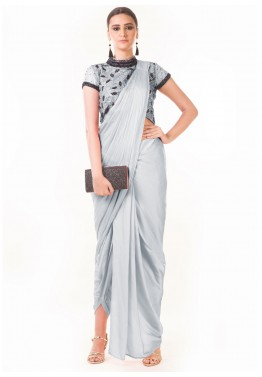 ea2360d6bc7 Indo Western Dress  Buy Grey Draped Dhoti With Embroidered Blouse Online