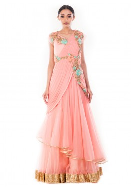 05c0bb37443 Indian Gowns Online  Buy Pastel Pink Saree Style Indo Western Gown in USA