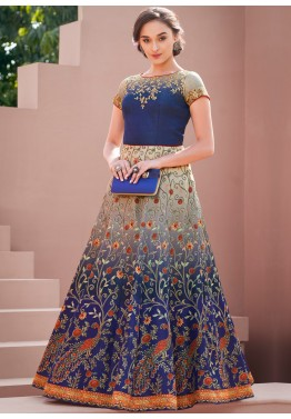 Indo Western Dress  Buy Navy Blue Digital Printed Indian Gowns online 74c511703