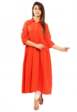 0826b687802 Indian Tunic Dresses: Buy Orange Gathered Cotton Indian Tunics Online