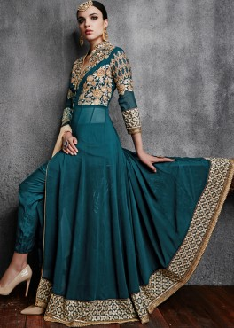 9877dc4ee Buy Green Georgette Pant Style Anarkali Indian Salwar Kameez Online