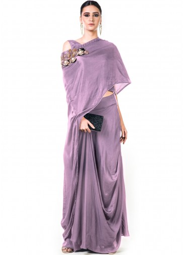 f419b160282a5 Grey Draped Dhoti With Embroidered Blouse Designer Couture 114TB13